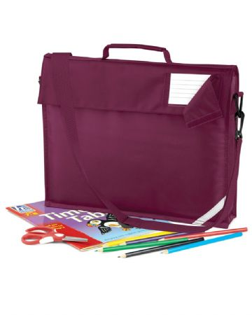 CANISBAY  PRIMARY SCHOOL JUNIOR BURGUNDY BOOK BAG WITH STRAP WITH LOGO